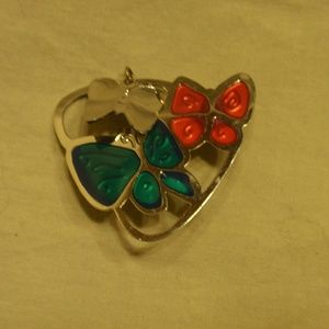 Jewelry - Butterfly Brooch - Blue, Pink and Silver